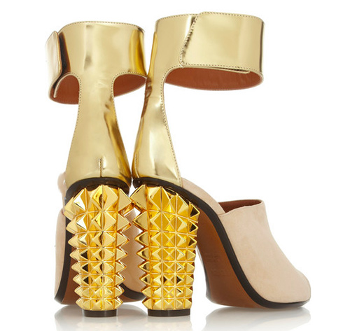 Metallic-leather-and-suede-sandals-Fendi